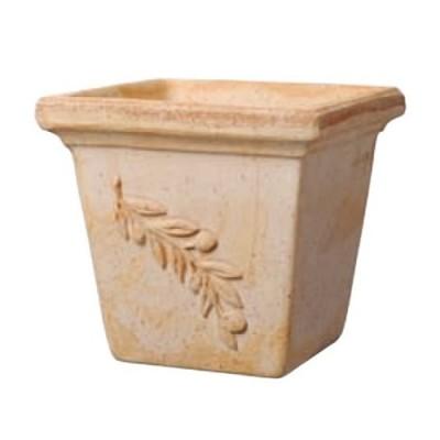 イタリア生まれの高級テラコッタ鉢: オリーブポット スクエアー 18cm(実の装飾付き)